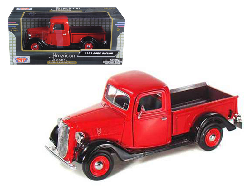 1937 Ford Pickup Truck Red 1/24 Diecast Model Car by Motormax