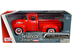 "1956 Ford F-100 Pickup Truck Red with Whitewall Tires \American Classics"" 1/24 Diecast Model Car by Motormax"""