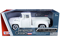 "1956 Ford F-100 Pickup Truck White with Whitewall Tires \American Classics"" 1/24 Diecast Model Car by Motormax"""