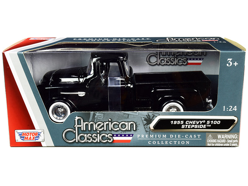 "1955 Chevrolet 5100 Stepside Pickup Truck Black with Whitewall Tires \American Classics"" 1/24 Diecast Model Car by Motormax"""