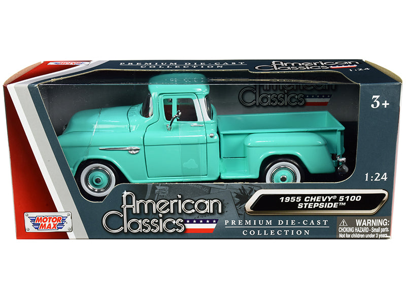 "1955 Chevrolet 5100 Stepside Pickup Truck Turquoise with Whitewall Tires \American Classics"" 1/24 Diecast Model Car by Motormax"""