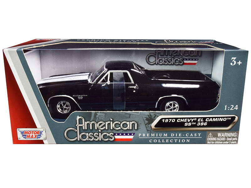 "1970 Chevrolet El Camino SS 396 Black with White Stripes \American Classics"" 1/24 Diecast Model Car by Motormax"""