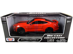2018 Ford Mustang GT 5.0 Red with Black Stripes 1/24 Diecast Model Car by Motormax
