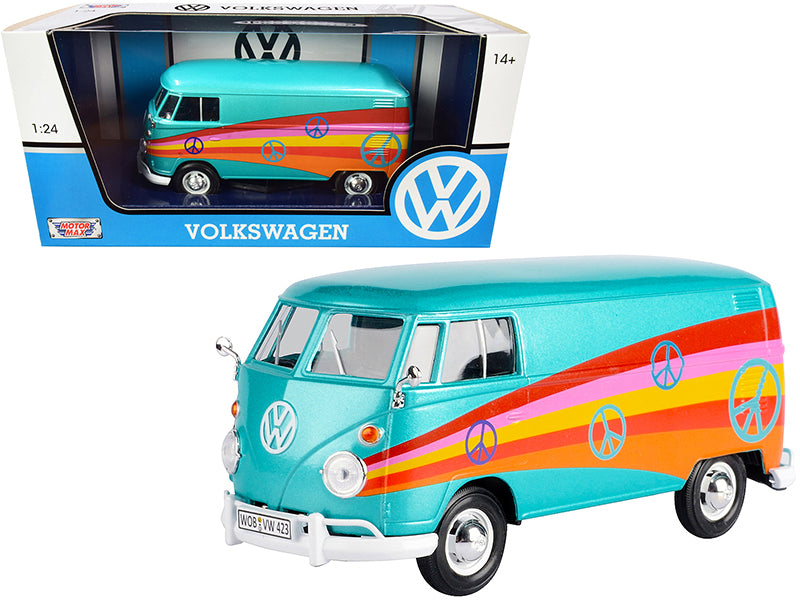 "Volkswagen Type 2 (T1) Delivery Van \Peace"" Turquoise Metallic 1/24 Diecast Model Car by Motormax"""