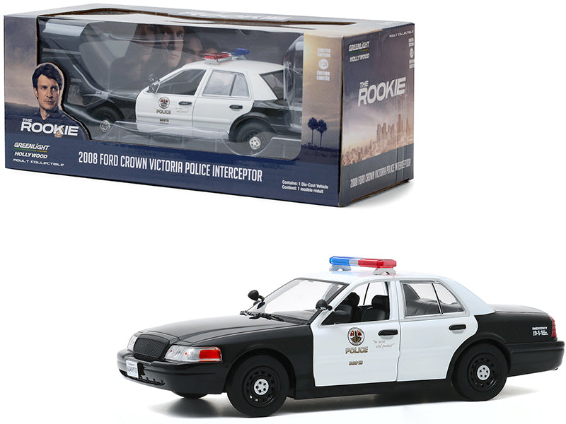 "2008 Ford Crown Victoria Police Interceptor White and Black \LAPD"" (Los Angeles Police Department) \""The Rookie\"" (2018) TV Series 1/24 Diecast Model Car by Greenlight"""