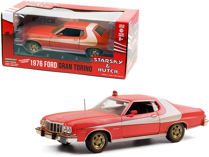 "1976 Ford Gran Torino Red with White Stripe (Weathered Version) \Starsky and Hutch"" (1975-1979) TV Series 1/24 Diecast Model Car by Greenlight"