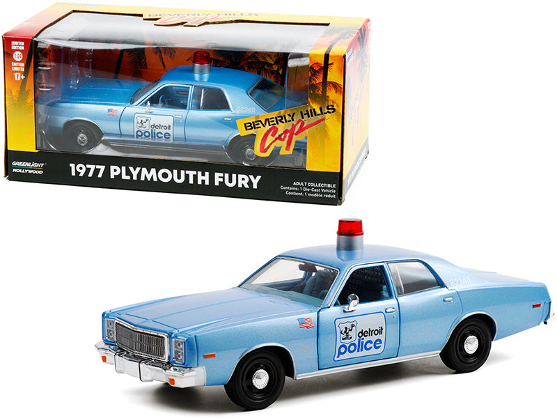 "1977 Plymouth Fury \Detroit Police"" Light Blue \""Beverly Hills Cop\"" (1984) Movie 1/24 Diecast Model Car by Greenlight"""