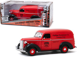 "1939 Chevrolet Panel Truck Red \Phillips 66"" (Phillips Petroleum Co. Geological Dept.) \""Running on Empty\"" Series 4 1/24 Diecast Model Car by Greenlight"""