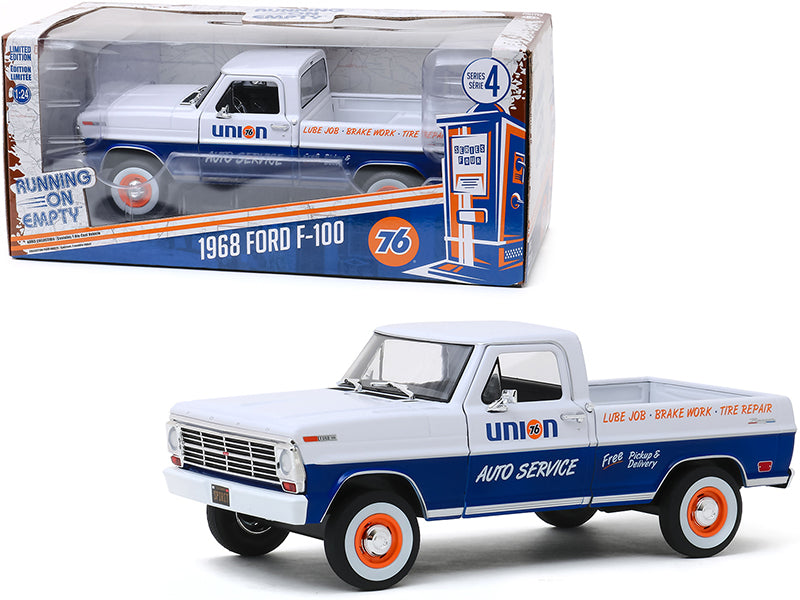 "1968 Ford F-100 Pickup Truck White and Blue \Union 76 Auto Service"" \""Running on Empty\"" Series 4 1/24 Diecast Model Car by Greenlight"""