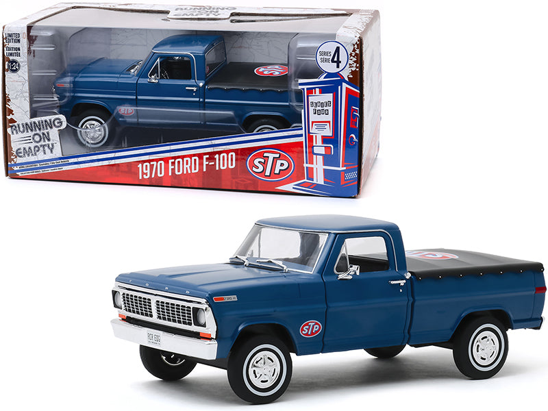 "1970 Ford F-100 Pickup Truck with Bed Cover Dark Blue \STP"" \""Running on Empty\"" Series 4 1/24 Diecast Model Car by Greenlight"""