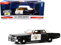 "1974 Dodge Monaco \California Highway Patrol"" (CHP) Black and White \""Hot Pursuit\"" 1/24 Diecast Model Car by Greenlight"""