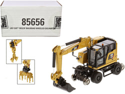 "CAT Caterpillar M323F Railroad Wheeled Excavator with 3 Accessories (CAT Yellow Version) \High Line"" Series 1/87 (HO) Scale Diecast Model by Diecast Masters"""