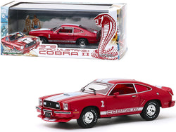 1978 Ford Mustang II Cobra II Red with White Stripes and Red Interior 1/43 Diecast Model Car by Greenlight