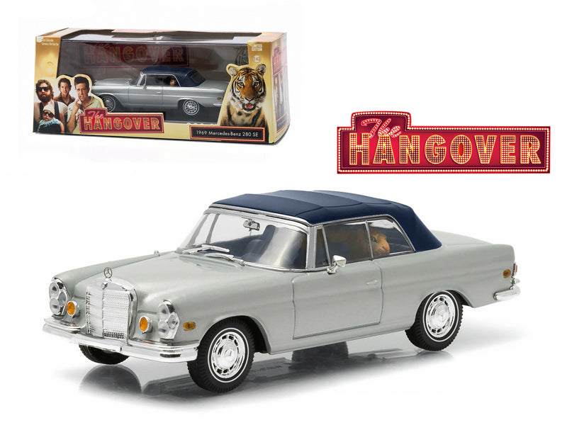 "1969 Mercedes 280 SE Convertible Top Up Damaged with Tiger \The Hangover"" Movie (2009) 1/43 Diecast Model Car by Greenlight"""