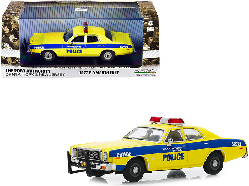 "1977 Plymouth Fury Yellow with Blue Stripes \The Port Authority Of New York and New Jersey Police"" 1/43 Diecast Model Car by Greenlight"""