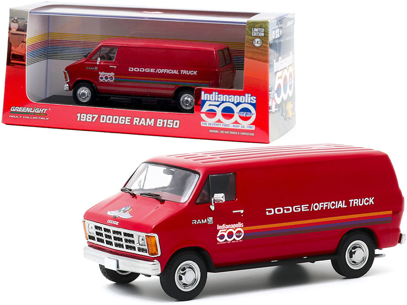 "1987 Dodge Ram B150 Van Red with Stripes \71st Annual Indianapolis 500 Mile Race"" Official Truck 1/43 Diecast Model by Greenlight"""