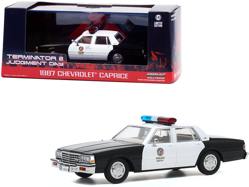 "1987 Chevrolet Caprice \Metropolitan Police"" Black and White \""Terminator 2: Judgment Day\"" (1991) Movie 1/43 Diecast Model Car by Greenlight"