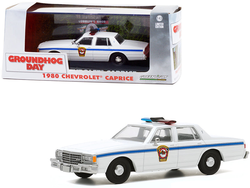 "1980 Chevrolet Caprice \Punxsutawney Police"" White \""Groundhog Day\"" (1993) Movie 1/43 Diecast Model Car by Greenlight"""