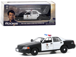 "2008 Ford Crown Victoria Police Interceptor White and Black \LAPD"" (Los Angeles Police Department) \""The Rookie\"" (2018) TV Series 1/43 Diecast Model Car by Greenlight"""