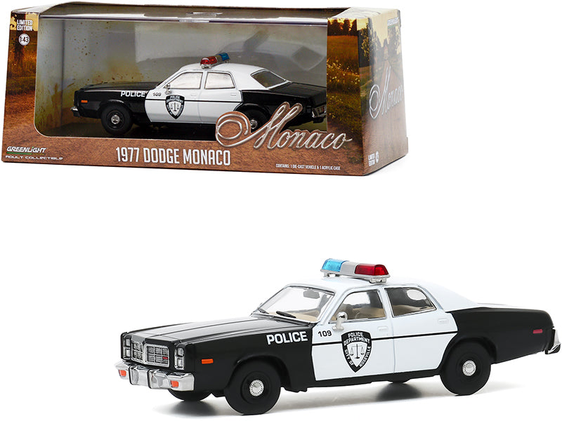 "1977 Dodge Monaco White and Black \Police Department City of Roseville"" 1/43 Diecast Model Car by Greenlight"""