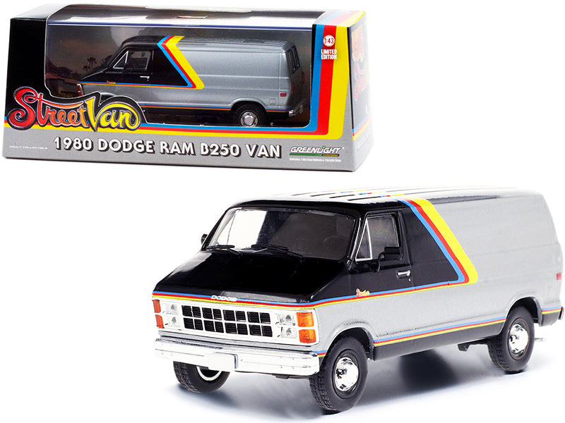 "1980 Dodge Ram B250 Van Silver and Black with Stripes \Street Van"" 1/43 Diecast Model by Greenlight"""