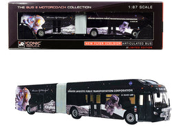 "New Flyer Xcelsior XN60 Articulated Bus CityBus \Silver Loop"" Lafayette (Indiana) Black \""The Bus & Motorcoach Collection\"" 1/87 (HO) Diecast Model by Iconic Replicas"""
