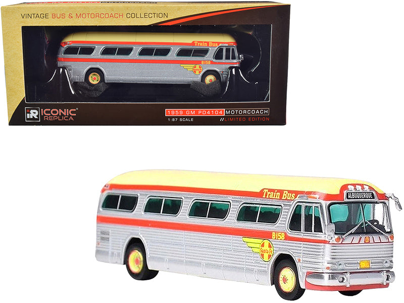 "1959 GM PD4104 Motorcoach \Santa Fe Train Bus"" \""Destination: Albuquerque\"" (New Mexico) Silver and Orange with Yellow Top \""Vintage Bus & Motorcoach Collection\"" 1/87 Diecast Model by Icon"""