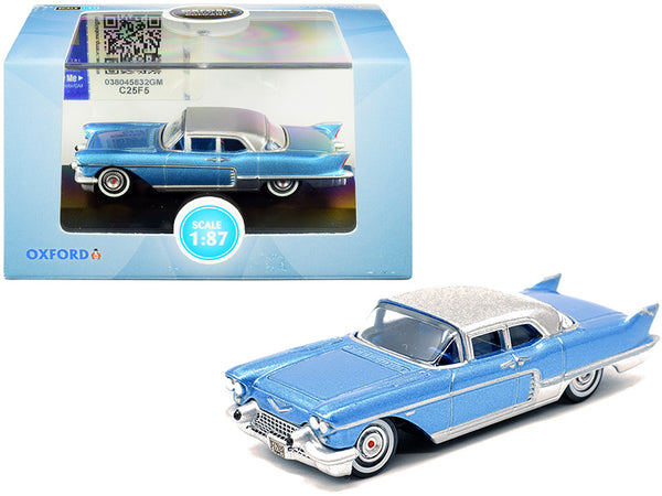 1957 Cadillac Eldorado Hardtop Copenhagen Blue Metallic with Silver Top 1/87 (HO) Scale Diecast Model Car by Oxford Diecast