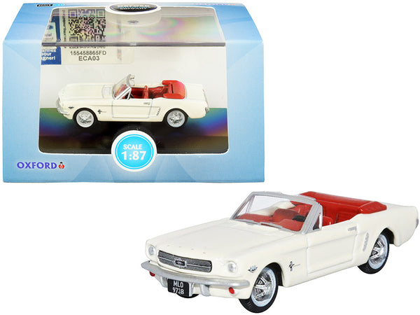1965 Ford Mustang Convertible Wimbledon White (Goldfinger) with Red Interior 1/87 (HO) Scale Diecast Model Car by Oxford Diecast
