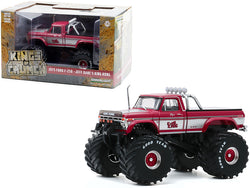 "1975 Ford F-250 Ranger XLT Monster Truck with 66-Inch Tires and Bed Cover \King Kong"" Pink \""Kings of Crunch\"" 1/43 Diecast Model Car by Greenlight"""