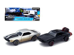 "Dom\'s 1970 Dodge Charger R/T Off Road and Roman\'s Chevrolet Camaro Z/28 (Dirty Version) \Fast & Furious 7"" Movie Set of 2 Cars 1/32 Diecast Model Cars by Jada"""