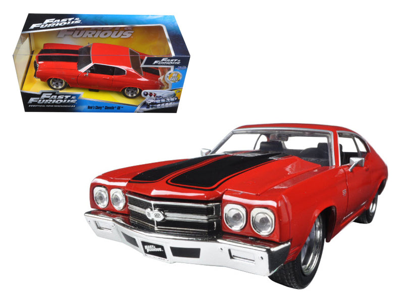 "Dom\'s Chevrolet Chevelle SS Red with Black Stripes \Fast & Furious"" Movie 1/24 Diecast Model Car by Jada"""
