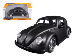 1959 Volkswagen Beetle Satin Metallic Gray with 5 Spoke Wheels 1/24 Diecast Model Car by Jada