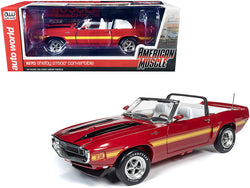 "1970 Ford Mustang Shelby GT500 Convertible Candy Apple Red with Black and Yellow Stripes \Hemmings Muscle Machines"" Magazine Cover Car (July 2010) 1/18 Diecast Model Car by Autoworld"""