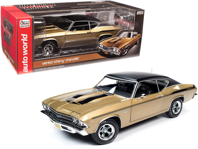 1969 Chevrolet Chevelle Yenko Hardtop Olympic Gold Metallic with Black Top and Black Stripes 1/18 Diecast Model Car by Autoworld