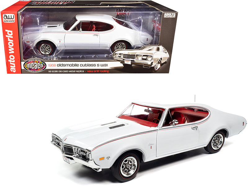 "1968 Oldsmobile Cutlass S W31 White with Red Interior \Muscle Car & Corvette Nationals"" (MCACN) 1/18 Diecast Model Car by Autoworld"""