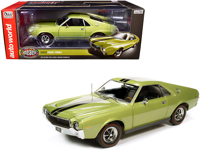 "1968 AMC AMX Hardtop Light Green Metallic with Black Stripes \Muscle Car & Corvette Nationals"" (MCACN) 1/18 Diecast Model Car by Autoworld"""