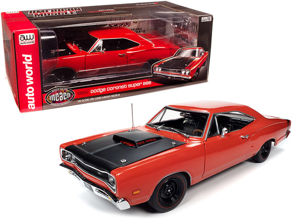 "1969/5 Dodge Coronet Super Bee Hardtop R4 Red with Black Hood \Muscle Car & Corvette Nationals"" (MCACN) 1/18 Diecast Model Car by Autoworld"""