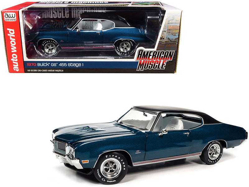 1970 Buick GS 455 Stage 1 Hardtop Diplomat Blue Metallic with Black Top and White Interior Hemmings Muscle Machines Magazine Cover Car (July 2019) 1/18 Diecast Model Car by Autoworld