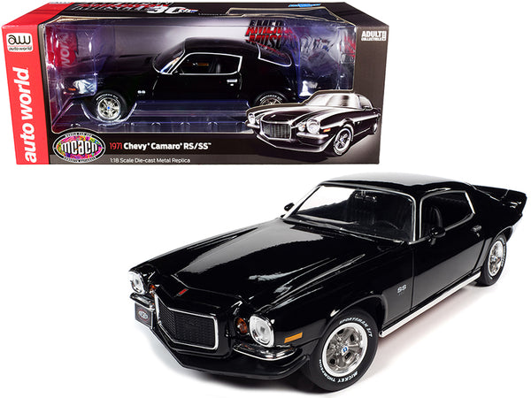 "1971 Chevrolet Camaro RS/SS Tuxedo Black \Muscle Car & Corvette Nationals"" (MCACN) \""American Muscle 30th Anniversary\"" 1/18 Diecast Model Car by Autoworld"""