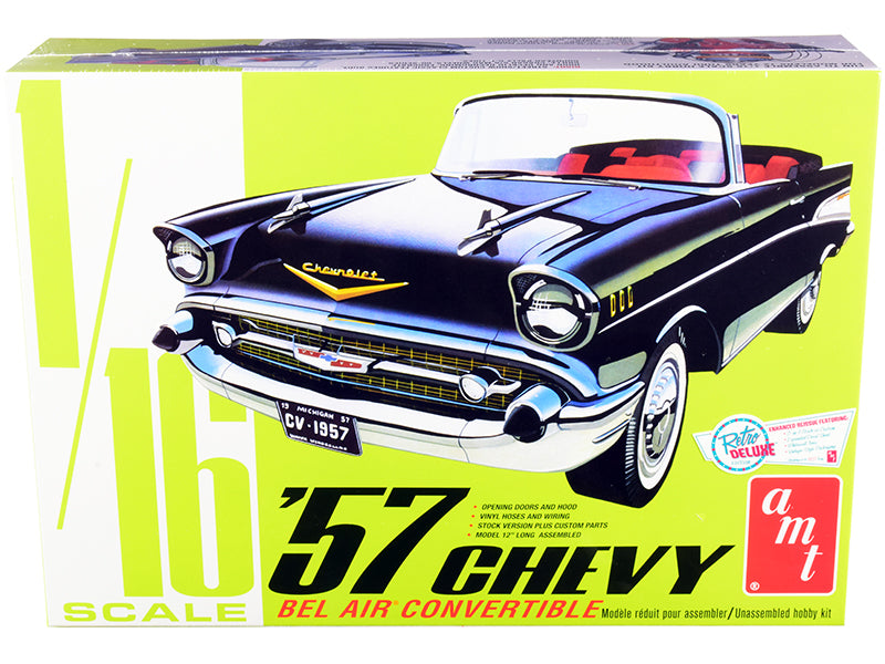 Skill 3 Model Kit 1957 Chevrolet Bel Air Convertible 2-in-1 Kit 1/16 Scale Model by AMT