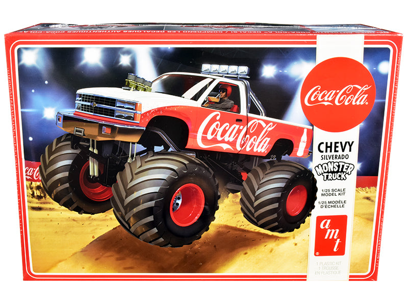 "Skill 2 Model Kit Chevrolet Silverado Monster Truck \Coca-Cola"" 1/25 Scale Model by AMT"""