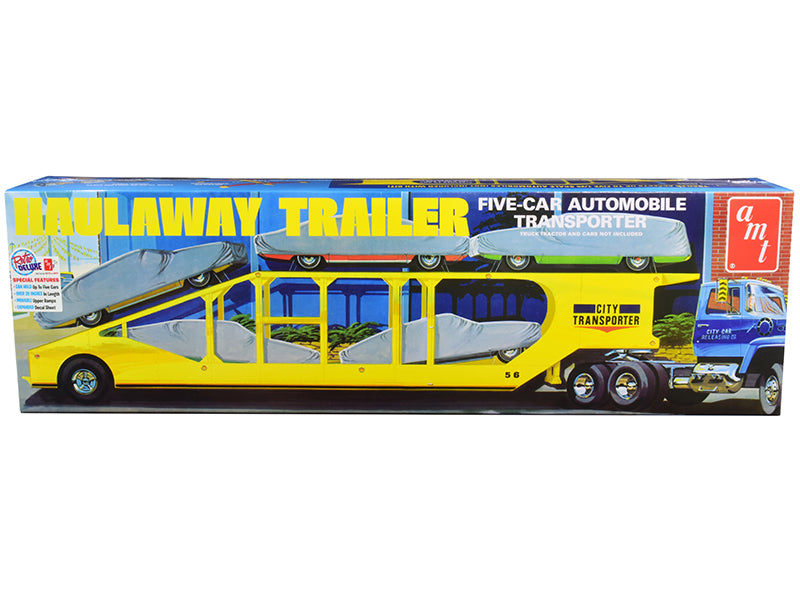 Skill 3 Model Kit Haulaway Trailer Five-Car Automobile Transporter 1/25 Scale Model by AMT