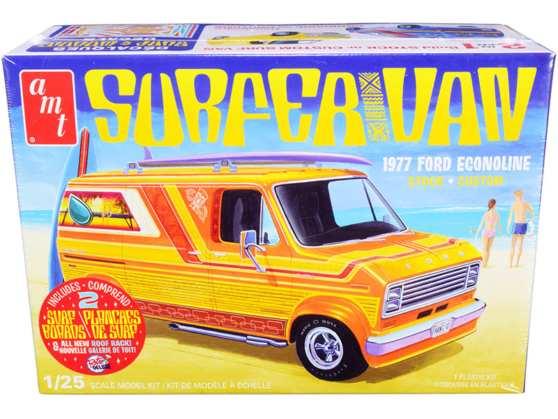 Skill 2 Model Kit 1977 Ford Econoline Surfer Van with Two Surfboards 2-in-1 Kit 1/25 Scale Model by AMT