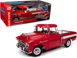 1957 Chevrolet Cameo Pickup Truck Cardinal Red and White 1/18 Diecast Model Car by Autoworld