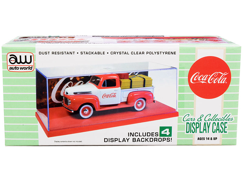 "Collectible Acrylic Display Show Case with Red Plastic Base and 4 \Coca-Cola"" Display Backdrops for 1/43 Scale Model Cars by Autoworld"""