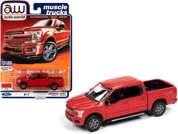 "2019 Ford F-150 Lariat Pickup Truck Race Red \Muscle Trucks"" Limited Edition to 11056 pieces Worldwide 1/64 Diecast Model Car by Autoworld"""