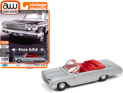 "1962 Chevrolet Impala SS 409 Convertible Satin Silver Metallic with Red Interior \Vintage Muscle"" Limited Edition to 10312 pieces Worldwide 1/64 Diecast Model Car by Autoworld"""