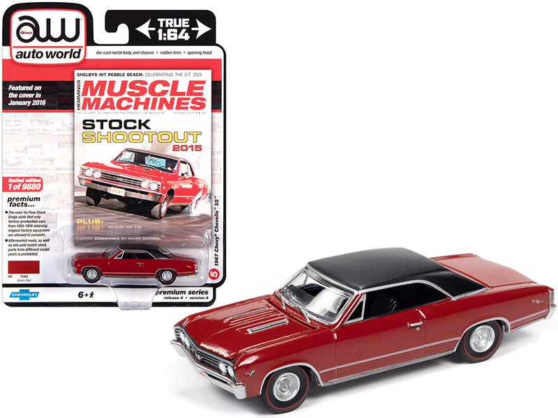 "1967 Chevrolet Chevelle SS Bolero Red with Flat Black Vinyl Top \Hemmings Muscle Machines"" Magazine Cover Car (January 2016) Limited Edition to 9880 pieces Worldwide 1/64 Diecast Model Car """