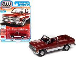 "1981 Chevrolet Silverado 10 Fleetside Carmine Red and White with Red Interior \Muscle Trucks"" Limited Edition to 19504 pieces Worldwide 1/64 Diecast Model Car by Autoworld"""